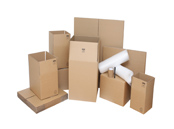 cardboard packing boxes and moving supplies